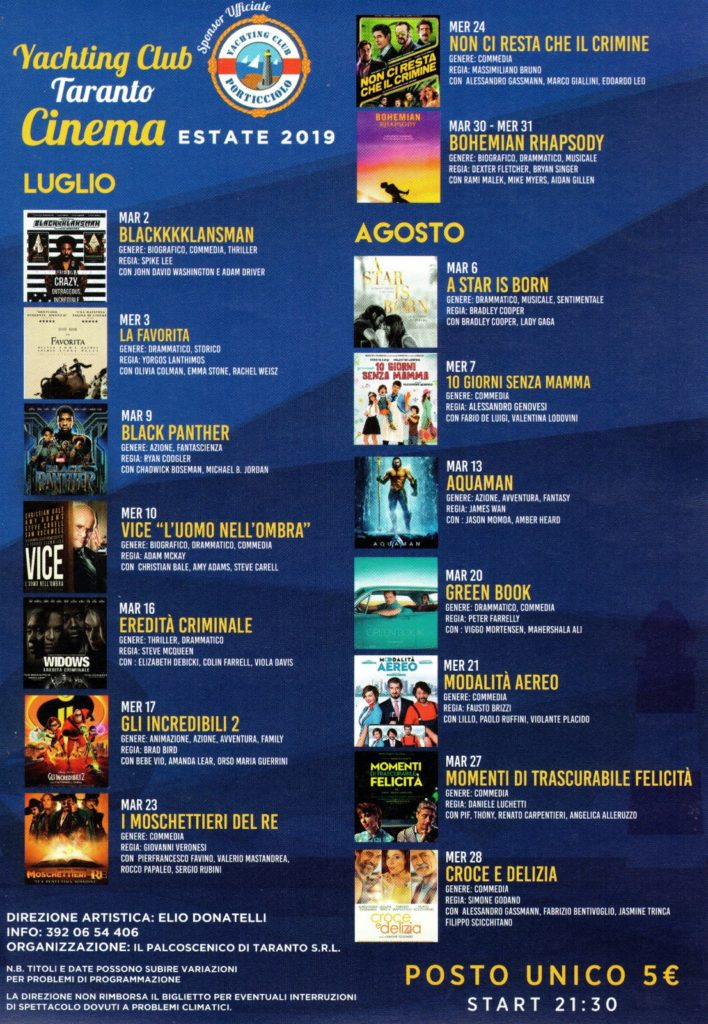 Rassegna cinema 2019 - yachting club